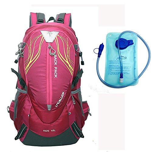 Cuckoo 40L leichter wasserdichter Camping Reisen Radfahren Wandern Rucksack mit Regen Abdeckung Laptop Abteil Hydratation Blase Pack Rosa + W