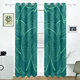 JSTEL Tropical Palm Muster Vorhänge Panels Verdunklung Blackout Tülle Raumteiler für Terrasse Fenster Glas-Schiebetür Tür 139,7x 213,4cm, Set von 2