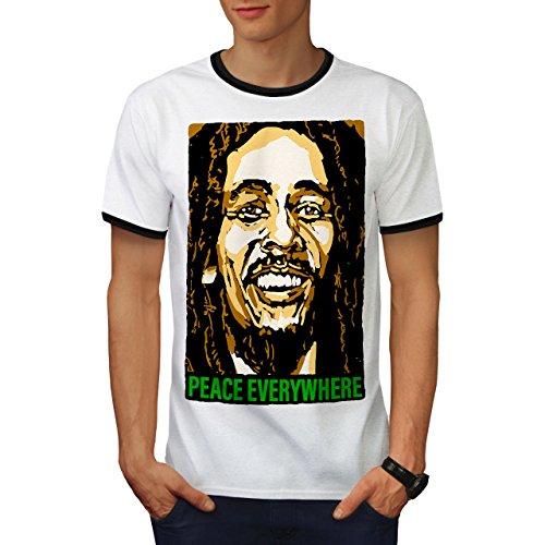 Bob Marley Sänger Berühmt Star Herren L Ringer T-shirt | Wellcoda (Stars Streifen Berühmte Shirts)
