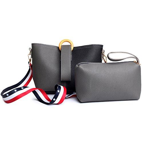 Kordelzug Cross-body-tasche (Eimertasche Damen beuteltasche Leichte PU Handtasche gemischte Farbe Crossbody Tasche für Frauen Kordelzug kleine Tasche Teenager Mädchen Kinder üppige Paket Umhängetasche Dual-Funktions-Tasche)