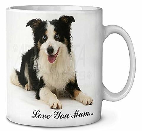 Tri- Border Collie Couleur 'Love You Mum' Tasse de café anniversaire cadeau de N