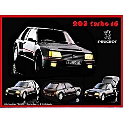 uto Francia Vintage Silber Metall 20 x 15 cm Peugeot Sport Rally 205 Turbo 16 ()