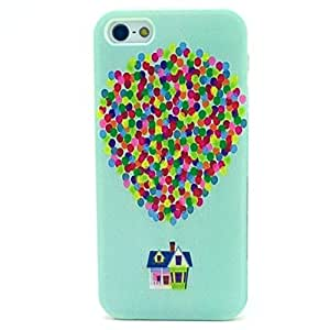 5c Case, Iphone 5c Case, ALLUCKY Colorful Balloon Flying House TPU Soft Case Rubber Silicone Skin Cover for Apple Iphone 5c
