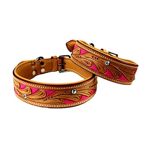 MICHUR Pinklady, Hundehalsband, Lederhalsband, Halsband, LEDER, BEIGE, PINK, MIT STANZUNGEN, in verschiedenen Größen erhältlich - 2