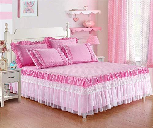 Hazelsha Spitzen Chiffon Bettvolant Tagesdecke,Bettrock tagesdecke Rüschen Bettüberwurf,Schlafzimmer-Bett zu dekorieren Kinder Chiffon Drop