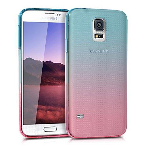 kwmobile Cover per Samsung Galaxy S5 / S5 Neo - Custodia in TPU Silicone per Cellulare Samsung Galaxy S5 / S5 Neo - Fucsia/Blu Matt