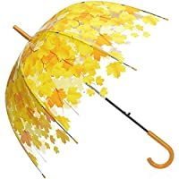 Fansport Transparent Umbrella, Dome Umbrella Automatic Leaves Pattern Umbrella