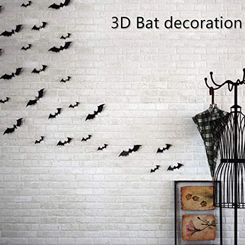 Cuigu 12 Stück Wandsticker 3D Spooky Bat Halloween Dekoration Party (Spooky Halloween Dekoration)