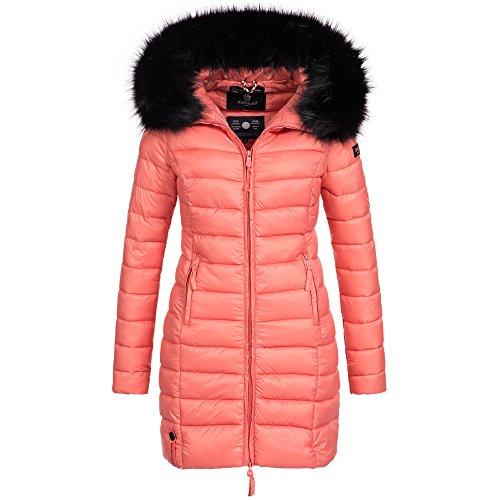 Marikoo ROSE-110 Damen Mantel Jacke Steppjacke Winterjacke lang gesteppt Übergang XS-XXL, Größe:M / 38;Farbe:Coral