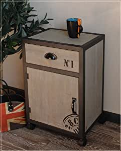 kleiner schrank auf rollen mit schrift im usedlook k che haushalt. Black Bedroom Furniture Sets. Home Design Ideas