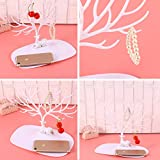 WINOMO Decorative Deer Antler Tree Design Bracelet Necklace Holder / Jewelry Organizer Stand w/ Ring Tray (White)