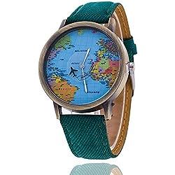 Mapa del mundo reloj Relogio Feminino Fashion mujer reloj Casual relojes de cuarzo de lujo Jeans caliente venta verde