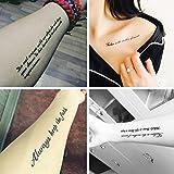 TAFLY Sexy Fake Tattoo Arm Handgelenk Für Männer & Frauen Feder Schwarz Tinte Englisch Wort Buchstabe Tatoo Körper Rücken Kunst Temporäre Tattoo Aufkleber 8 Blätter