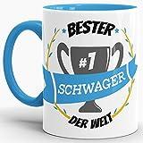 Tassendruck Kaffee-Tasse Schwager Innen & Henkel Hellblau/Lustig / Fun/Mug / Cup/Geschenk Qualität - 25 Jahre Erfahrung