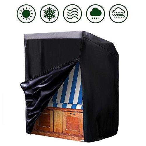 Moonkit Schutzhülle für Strandkorb, Abdeckplane Schutz Hülle Strandkorb Schutzhaube Abdeckhaube aus 420D Oxford Gewebe, 140/175 x 135 x 105 cm
