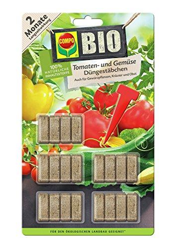 COMPO BIO Tomaten- und Gemüse Düngestäbchen, mit allen Hauptnährstoffen und Magensium in jedem Stäbchen, 20 Stäbchen