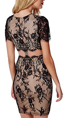 Abito donna corto vestito donna maniche corte elegante lavorato ricamato Nero