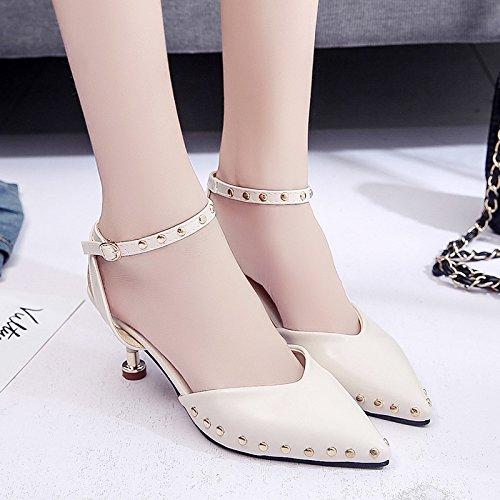 RUGAI-UE Tacchi Alti borsa tracolla testa sandali a punta fine rivetto donne sexy scarpe Beige