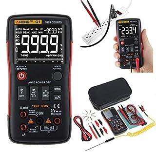 GeKLok ANENG Q1 True-RMS Digital Multimeter Button 9999 Counts with Analog Bar Graph AC/DC Voltage Ammeter Current Ohm Auto/Manual
