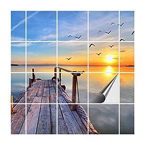 FoLIESEN Fliesenaufkleber für Bad und Küche | Fliesenposter Abend am See | Fliesengröße 15x15 cm | Fliesenbild 24 TLG. - 90x60 cm (LxB)