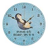 Mr. & Mrs. Panda 30 cm Wanduhr Pinguin lachend - Pinguin, Pinguine, lustiger Spruch, Optimismus, Fröhlich Wanduhr, Uhr, Kunderuhr, Kinderzimmer, Rund, Druck
