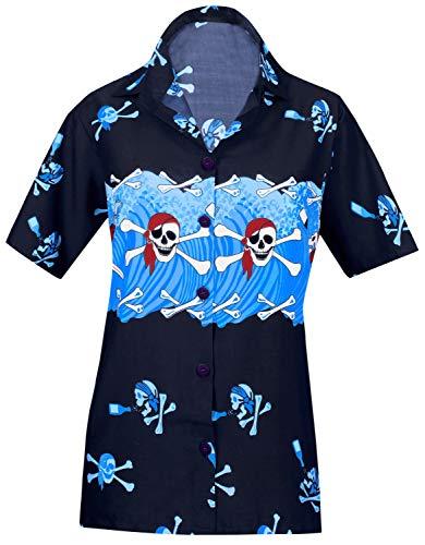 LA LEELA Schädel Halloween Skelett Kürbis Teufel Kostüm Kleidfrauen Luau Partei hawaiianischen Strand Tag Coverup Taste gedr�ckt kurzen �rmeln m