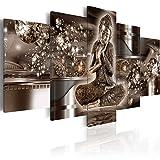 BD XXL murando Impression sur Toile intissee 200x100 cm cm 5 Parties Tableau Tableaux Decoration Murale Photo Image Artistique Photographie Graphique Bouddha h-A-0053-b-n