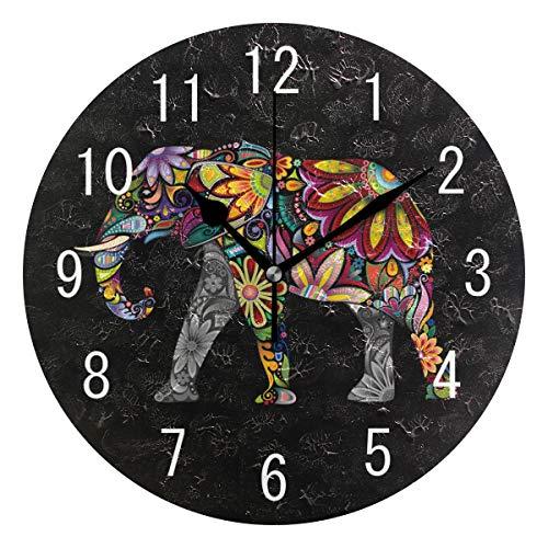 Domoko Home Decor - Reloj de Pared, diseño de Elefante Indio Floral, Redondo, acrílico, para salón, Cocina, Dormitorio
