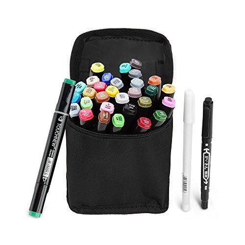 rker Pen Set Dual Tips Kunst Skizze Twin Marker Pens Highlighters mit Tragetasche für Malerei Coloring Hervorhebung und Unterstreichung (Comic Selection) (30 Set, Schwarz) -Lightwish (Halloween Handwerk Für 1 Jahr Alt)