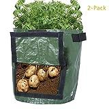 Pflanzsack,2er-Pack, 10 Liter, Pflanztaschen mit Belüftung, Kartoffelpflanztaschen mit Lasche, für Gemüse Kartoffeln Karotten und Zwiebeln.