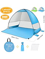 SLB Large Pop up Beach Tent - Automatic Sun Shelter with Water- Resistant & UV Protection Design, Easy Set up Portable Sun Shade for Family Activities Beach Camping Hiking (3 Person)