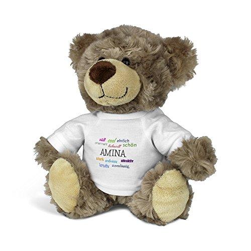 PrintPlanet® Teddybär mit Namen Amina - Kuscheltier Teddy mit Design Positive Eigenschaften