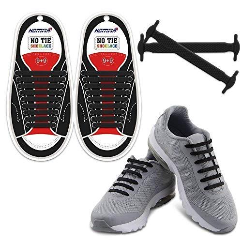 Homar No Tie Lacci per Scarpe per Bambini e Adulti - Impermeabile in Silicone Elastico Piatto Laces Athletic Scarpa da Corsa con Multicolore per Scarpe Sneakerboots Bordo e Scarpe Casual - Nero