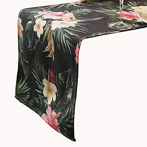 Chemin de table Noir, Tapis de Table rectangulaire/Couvercle du Meuble TV, Convient à la Table de Salle à Manger/Table Basse/Meuble (Taille : 35×220cm)