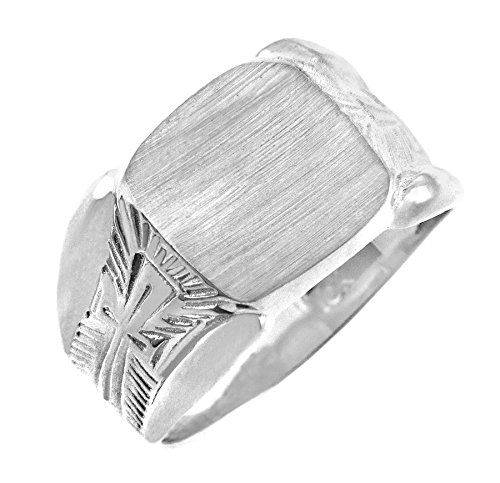 Kleine Schätze - Damen Ring / Verlobungsring / partnerring 10 Karat Protector Weißgold Signet Siegelring Ring (Verlobungsring Protector)