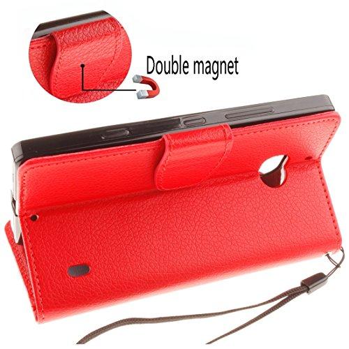 Für Nokia Lumia 930 Litchi Textur Horizontale Flip Leder Ständer Brieftasche Case Cover mit Halter & Card Slots & Wallet & Photo Frame & Lanyard by diebelleu ( Color : Magenta ) Red