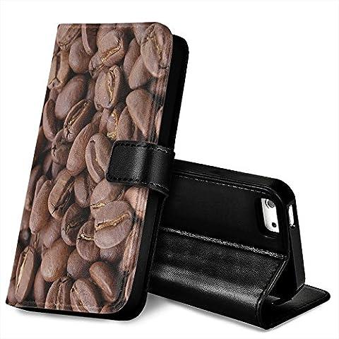 Chicchi di Caffè, Nero Portafoglio Magnetico Custodia in Pelle con Funzione di Appoggio Terrapin con Disegno Colorato per Apple iPhone 5 / 5S