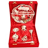 IndianArtVilla Om Design Silver Plated Pooja Aarti Thali, Poojan Purpose, Gift Set, 7 Pieces