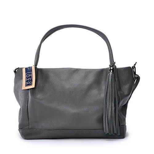 OH MY BAG Sac à main femme en cuir porté épaule Modèle Shopper Lily Grand volume idéal pour cours, PC, tablette - SOLDES