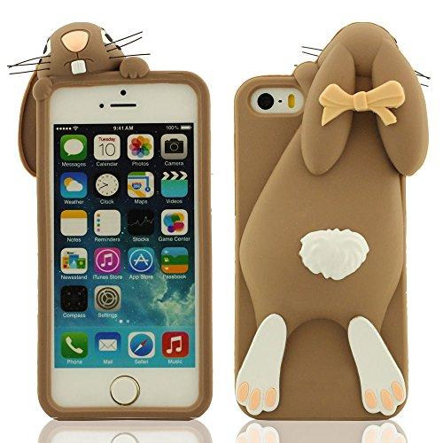 Design créatif Cartoon Animal Lapin Forme 3D Série Divers Couleur Gel silicone souple Case Coque Housse Étui de protection pour Apple iPhone SE iPhone 5S iPhone 5 iPhone 5C iPhone 5G marron