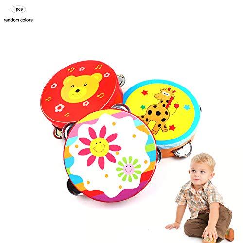 Hilai 1pc Madera pandereta Mano de Bell del Tambor traqueteos Clap Tambor pandereta Juguete de Instrumentos Musicales Percusión para Niños Niño Bebé (Color al Azar)