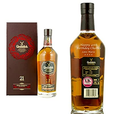 Personalised Glenfiddich 21 year old Single Malt Whisky 70cl Engraved Gift Bottle