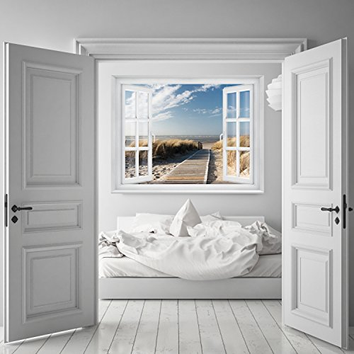 FOTOTAPETE ,,Beach Window 2T1′ 127cm x 183cm Fenster Ausblick Meer Strand Dünen Ozean ocean way Tapete inklusiv Kleister - 5