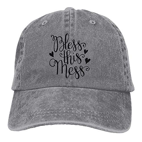 Hoswee Unisex Kappe/Baseballkappe, Bless This Mess Trend Printing Cowboy Hat Fashion Baseball Cap for Men and Women Black