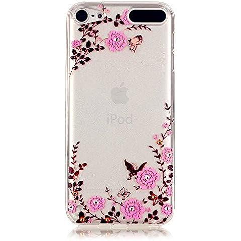 TKSHOP Custodia TPU Silicone sottile per Apple ipod Touch 5 / Apple ipod Touch 6 Case Cover Materiale Morbida Caso Flessibile Trasparente Ammortizzante Antiurto Bello Dipinto - Giardino delle farfalle