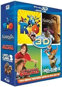 Coffret 3D active : Rio + L'Age de glace 3 + Le monde de Narnia 3 + Les voyages de Gulliver [Blu-ray 3D]