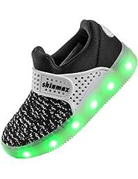 LED Zapatos,Shinmax Primavera-Verano-Otoño Transpirable Zapatillas LED 7 Colores Recargables Luz Zapatos de Deporte de Zapatillas con Luces Para Niños Niñas con CE Certificado