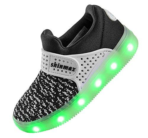 LED Chaussures,Shinmax Printemps-Été-Automne Respirante Lumineuse Chaussure USB Rechargeable Enfant LED Basket Clignotants Chaussures avec CE Certificat pour Fille et Garçon Noir