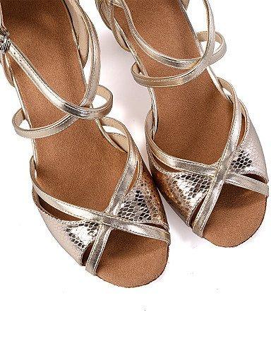 ShangYi Chaussures de danse(Argent / Or) -Personnalisables-Talon Bobine-Similicuir-Ventre / Latine / Jazz / Baskets de Danse / Moderne / Samba / Gold
