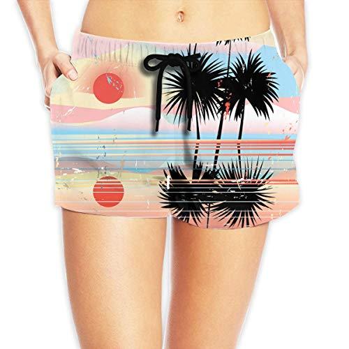 ERCGY Women's Beach Board Shorts Marine Tropical Landscape Summer Palm Tree Swim Trunks Briefs Swimsuit XXL - Palm Tree Swim Trunks